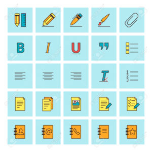 Text formatting icons. Vector icon set in flat design style. For web site design and mobile apps.